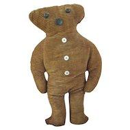 """Early, Folk Art Teddy Bear 11"""" Cloth Doll"""
