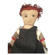 """Antique, Handmade 17"""" Raggedy Ann Cloth/Rag Doll, Volland Era"""