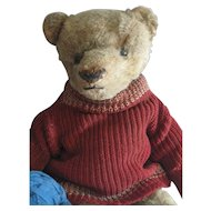 "Antique American 12"" Bear, Red Sweater"