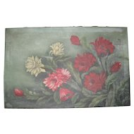 Antique Red Floral Oil Painting on Canvas