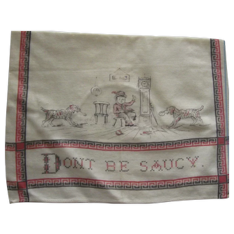 "Victorian  Printed Child's Bib, ""Don't Be Saucy""."