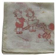 Vintage Children's Queen of Hearts Handkerchief