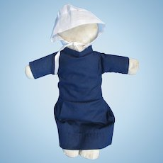 """Vintage Amish Cloth 13"""" Doll, c.1950-60's, Midwest"""
