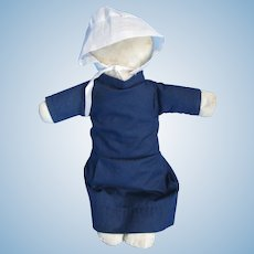 """Vintage Amish 13"""" Rag Doll, Midwest, Play Patina"""