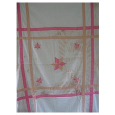 Vintage Stars Feed sack Summer Quilt/Coverlet