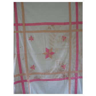 Vintage Stars Feed sack Summer Quilt/Coverlet