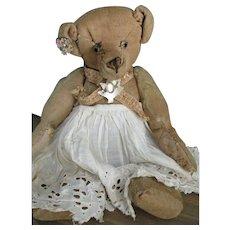 """Antique American  12"""" Bear, Loved Olga Pearl"""