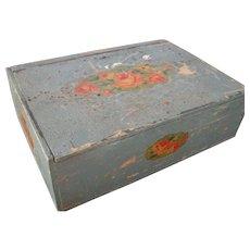 Vintage Amish Folk Art Decorated Box, Signed