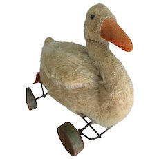 Early, Vintage Steiff Mohair Goose on Eccentric Wheels