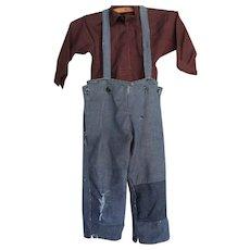 Vintage Amish Boy's Brown Shirt/Denim Pants, Missouri