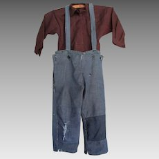 Vintage Amish Boy's Brown Shirt/Denim Pants, Missouri