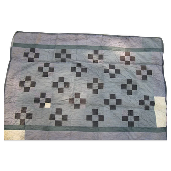 Antique Nine Patch Amish Crib Quilt, Central PA