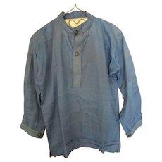 Vintage Amish Boy's Teal Shirt, Signed, OH