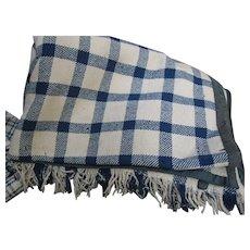 Antique Wool Homespun Blanket/Coverlet, Blue/Tan, Fringe, PA