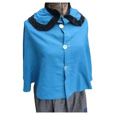 Vintage Amish Girl's Wool Teal Cape/Mandlie, c 1940's, Lancaster