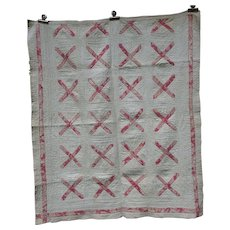 Antique Early Calico Crib Quilt, c 1860's, PA Museum
