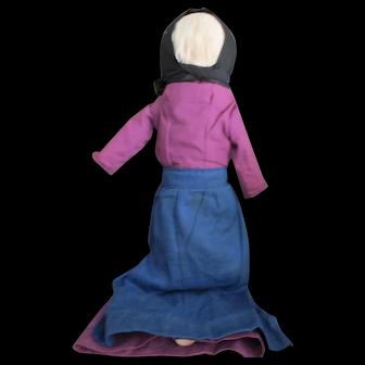 """Antique 14"""" Amish Cloth Doll, Ohio"""