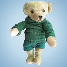 """Antique American 12"""" Teddy Bear, Original Knitted Outfit"""