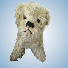 Vintage Fluffy Mohair Terrier Stuffed Dog, Squeaker