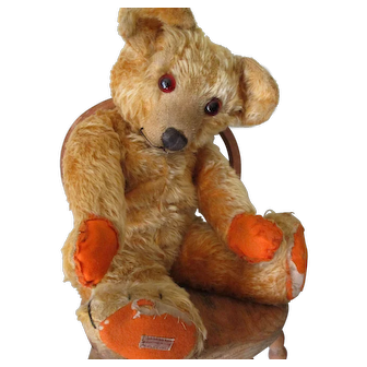 """Vintage Chad Valley Bear, 18"""", Possibly Orange Colored  c 30's"""