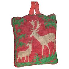 Victorian Reindeer Needlepoint Pin Cushion