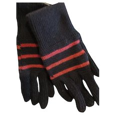 Amish Fancy Knitted Gloves, Black/Salmon Stripes, OH