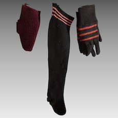 Early Amish Child's Stockings, Black/Pink Stripes