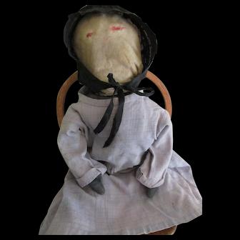 """Antique Amish 20"""" Rag Doll with Denim Body"""