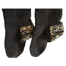 Antique Amish Adult Stockings, Black Wool