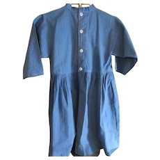 Vintage Blue Cotton Amish Child's Dress, Ohio