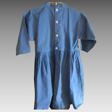 Vintage Blue Cotton Amish Child's Dress, Ohio