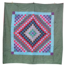 Antique Amish Quilt, Sunshine and Shadow, c1940-50's, Signed.