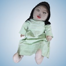 "Vintage Amish Rag Baby Doll, 22"" Big, Embroidered Face, Indiana."
