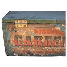 Antique Garden Seeds Box, Blue Paint, Paper Label, 19th C.