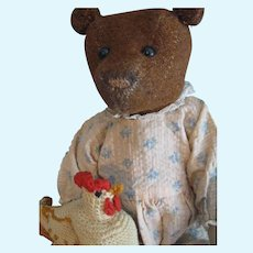 "Antique Cinnamon Burlap 12"" American Teddy Bear"