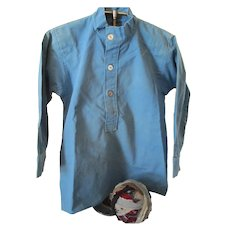 Vintage Amish Boy's Blue Cotton Shirt