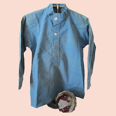 Vintage Amish Boy's Blue Cotton Shirt