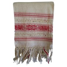 Early, Fancy Turkey Red Linen Damask Show Towel