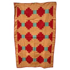 Antique  Mennonite Log Cabin Summer Quilt, c 30's, Unused