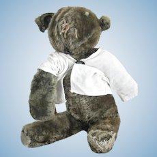 """Primitive, Home Made Stuffed Mohair 16"""" Teddy Bear"""
