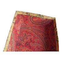 Antique Mennonite Folk Art Decorated Fabric/Wallpaper Box