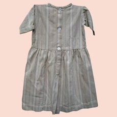 Antique Child's Primitive Brown Ticking Dress.