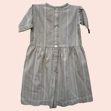 Antique Child's Primitive Brown Ticking Dress.