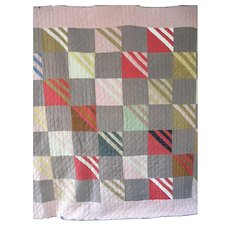 Antique Mennonite Roman Stripes Quilt, Wool