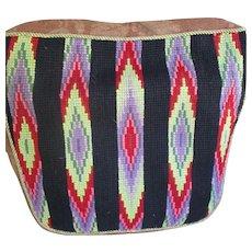 Vintage Amish Folk Art  Needlepoint Cushion, Southwest Motif.