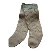 Antique Baby/Child's Amish Mennonite Fancy Stockings, Lancaster, Blue Band