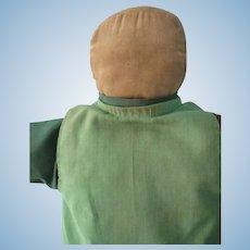 """Vintage Amish 17"""" Cloth Doll, Green Dress, Great Patina"""