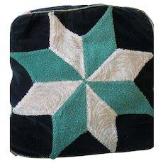 Vintage Amish Folk Art Needlepoint Cushion, Pieced Star