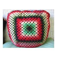 Vintage Amish Folk Art Needlepoint Cushion-Red Sunshine & Shadow