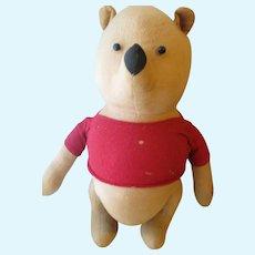 "Vintage Agnes Brush, Cloth Stuffed 14"" Pooh Bear"